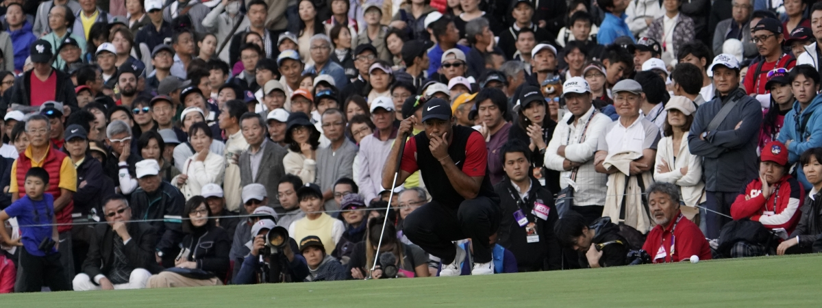 Tiger Woods of the United States lines up a putt on the 9th green during the final round of the Zozo Championship PGA Tour at the Accordia Golf Narashino country club in Inzai, east of Tokyo, Japan, Sunday, Oct. 27, 2019.