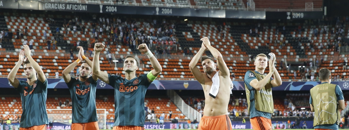 Ajax players celebrate their victory after the Champions League group H soccer match between Valencia and Ajax, at the Mestalla stadium in Valencia, Spain, Wednesday, Oct. 2, 2019. (AP Photo/Alberto Saiz)