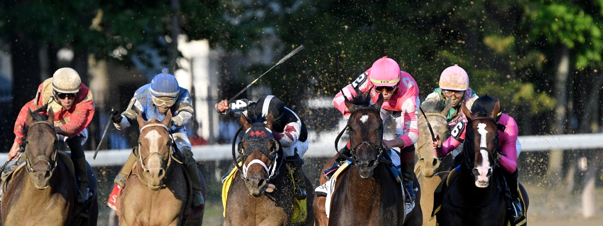 Tax, with the pink silks, won the Jim Dandy at Saratoga, but RT is betting against him today at Aqueduct.