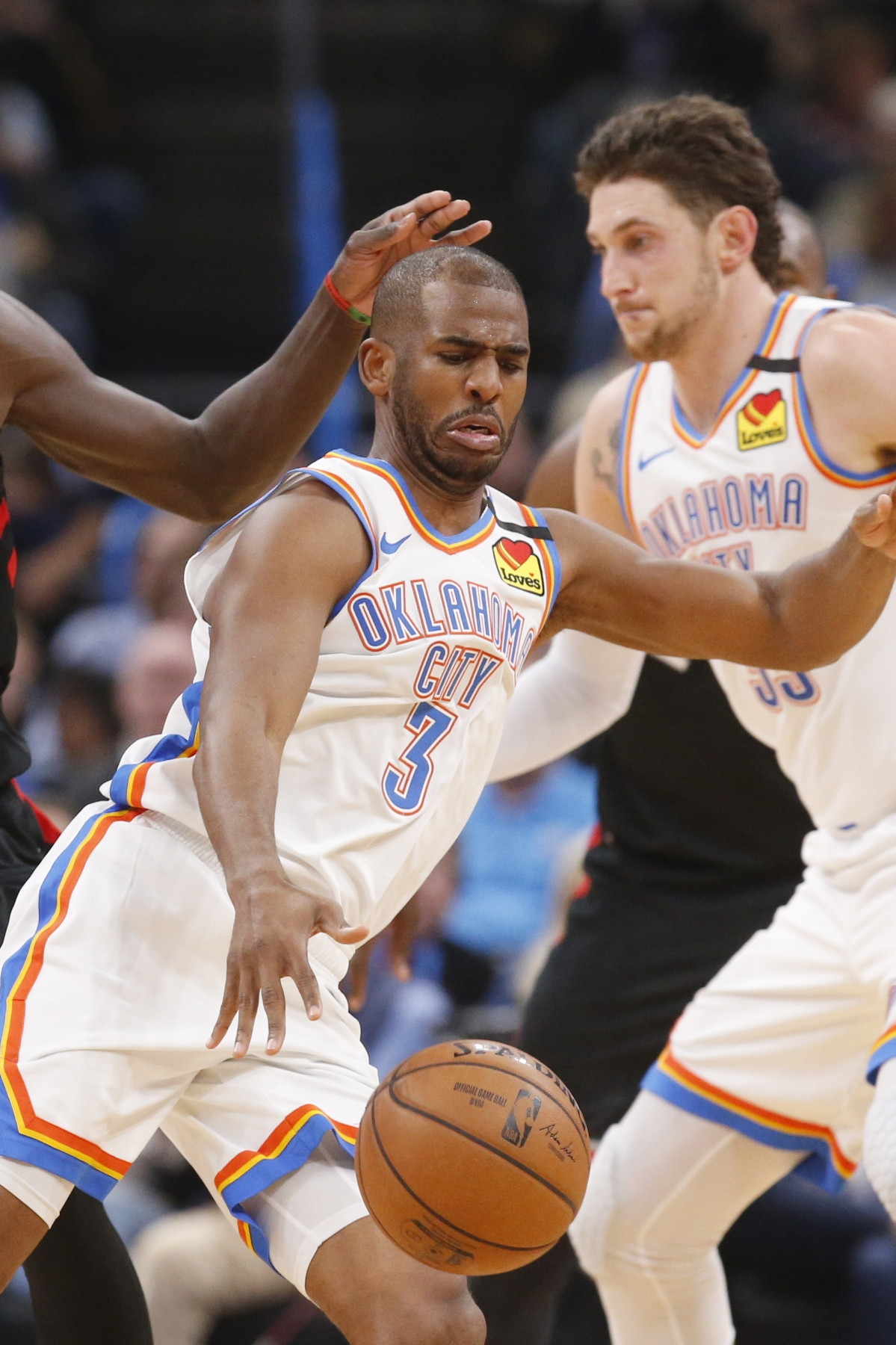 Oklahoma City Thunder guard Chris Paul (3) drives past Toronto Raptors forward Pascal Siakam (43) during the first half of an NBA basketball game Wednesday, Jan. 15, 2020, in Oklahoma City.