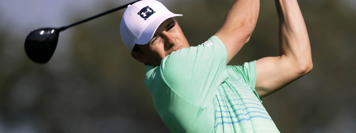 Jordan Spieth chips up to the second green on the Torrey Pines South Course during the first round The Farmers Insurance golf tournament in San Diego, Thursday, Jan. 23, 2020. (AP Photo/Alex Gallardo)