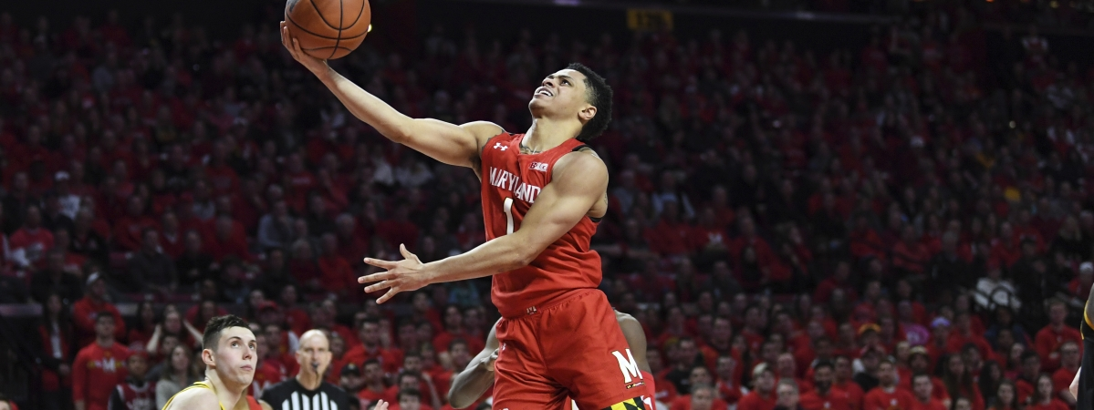 Maryland guard Anthony Cowan Jr. (1) goes to the basket for a layup during the second half of the team's NCAA college basketball game against Iowa on Thursday, Jan. 30, 2020, in College Park, Md.