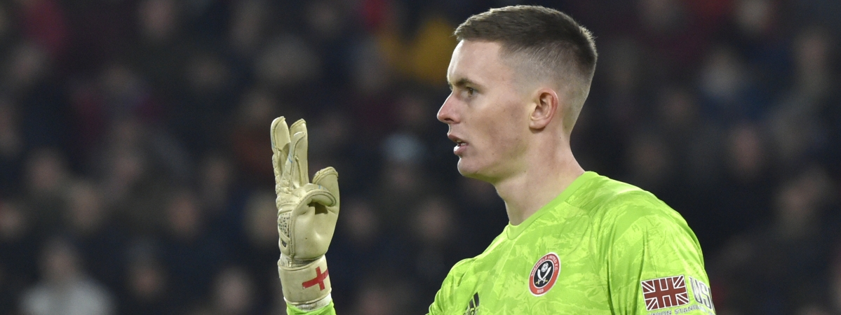 Sheffield United's goalkeeper Dean Henderson gestures during the English Premier League soccer match between Sheffield United and Manchester City at Bramall Lane in Sheffield, England, Tuesday, Jan. 21, 2020.