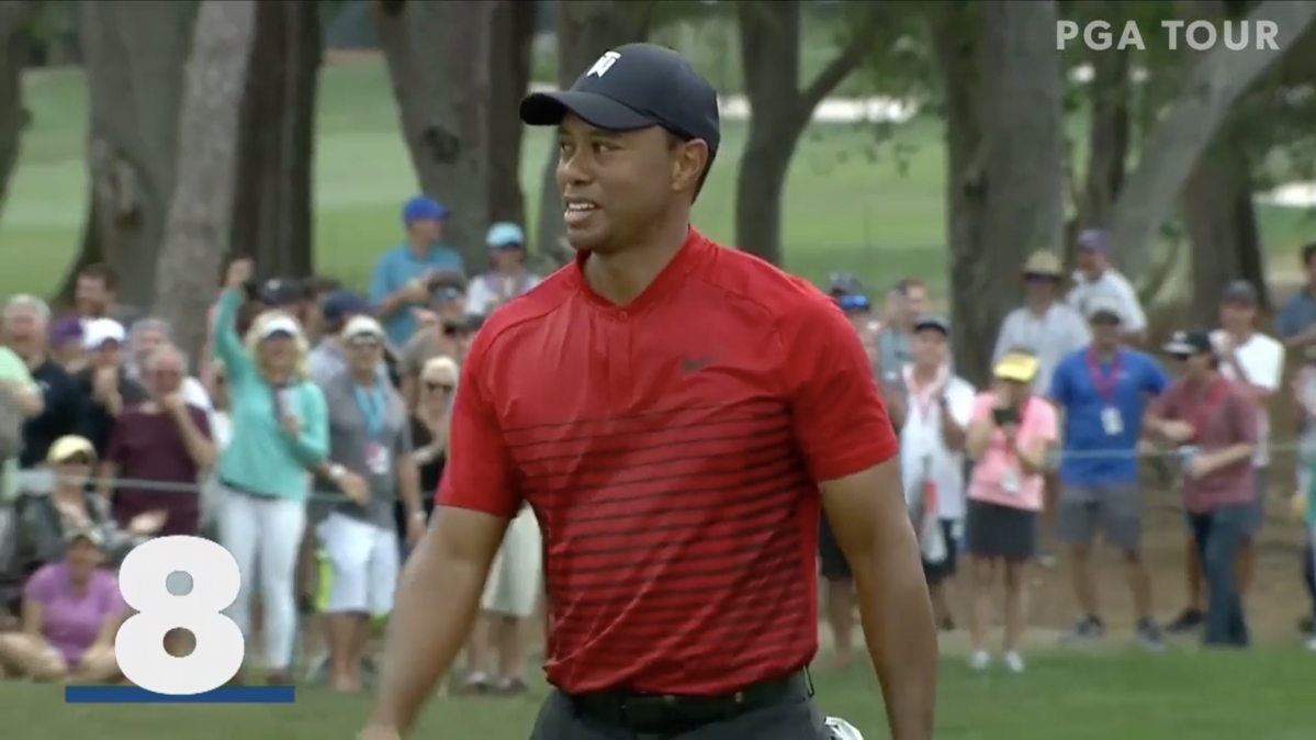 Tiger Woods sinking a long putt for #8 on the list of top 10 all-time best long shots from the Valspar Championship at Innisbrook Golf Resort