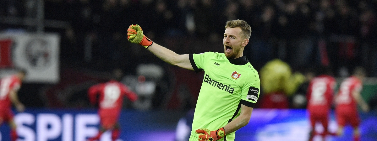 Leverkusen's goalkeeper Lukas Hradecky celebrates after his team scored the second goal during the German soccer cup, DFB Pokal, quarter-final match between Bayer Leverkusen and Union Berlin in Leverkusen, Germany, Wednesday, March 4, 2020.