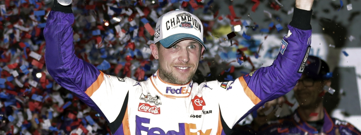 Denny Hamlin celebrates in Victory Lane after winning the NASCAR Daytona 500 auto race at Daytona International Speedway, Monday, Feb. 17, 2020, in Daytona Beach, Florida. Hamelin is one of the picks to win the FanShield 500 from 'The Eckel 3'