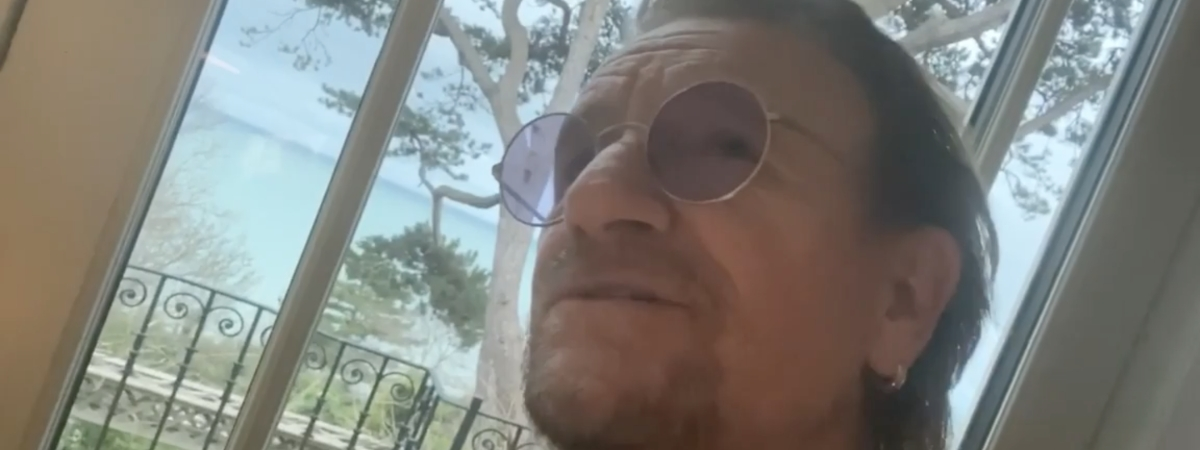 """Bono on Instagram singing his Coronavirus inspired piano ballad titled """"Let Your Love Be Known"""""""