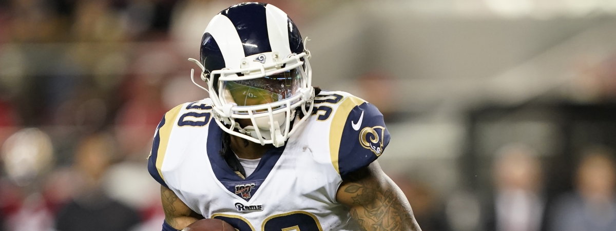 In this Saturday, Dec. 21, 2019 file photo, Los Angeles Rams running back Todd Gurley II carries against the San Francisco 49ers during the first half of an NFL football game in Santa Clara, Calif. The Rams cut Gurley Thursday, March 19, 2020 several minutes before roughly $10 million in the three-time Pro Bowl selection's contract became fully guaranteed.