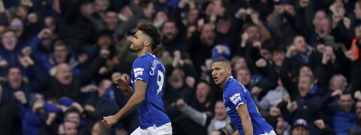 Everton's Dominic Calvert-Lewin runs celebrating after scoring a goal that was laster disallowed during the English Premier League soccer match between Everton and Manchester United at Goodison Park in Liverpool, England, Sunday, March 1, 2020.