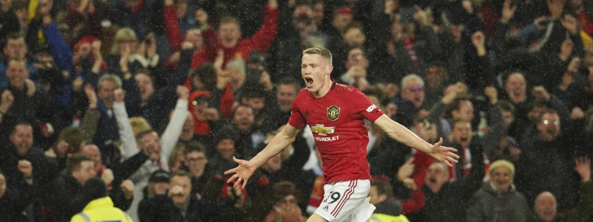 Manchester United's Scott McTominay celebrates after scoring his side's second goal during the English Premier League soccer match between Manchester United and Manchester City at Old Trafford in Manchester, England, Sunday, March 8, 2020.