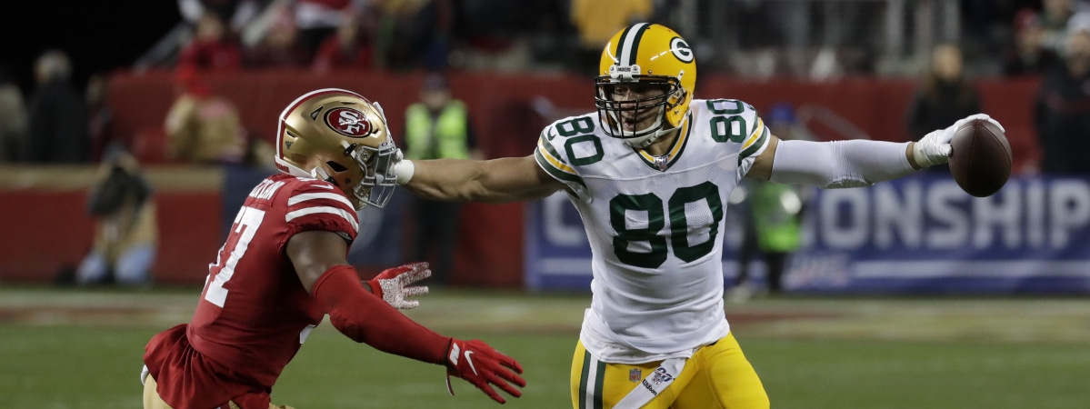 Green Bay Packers tight end Jimmy Graham, right, pushes San Francisco 49ers linebacker Dre Greenlaw away during the second half of the NFL NFC Championship football game Sunday, Jan. 19, 2020, in Santa Clara, Calif. (AP Photo/Matt York)