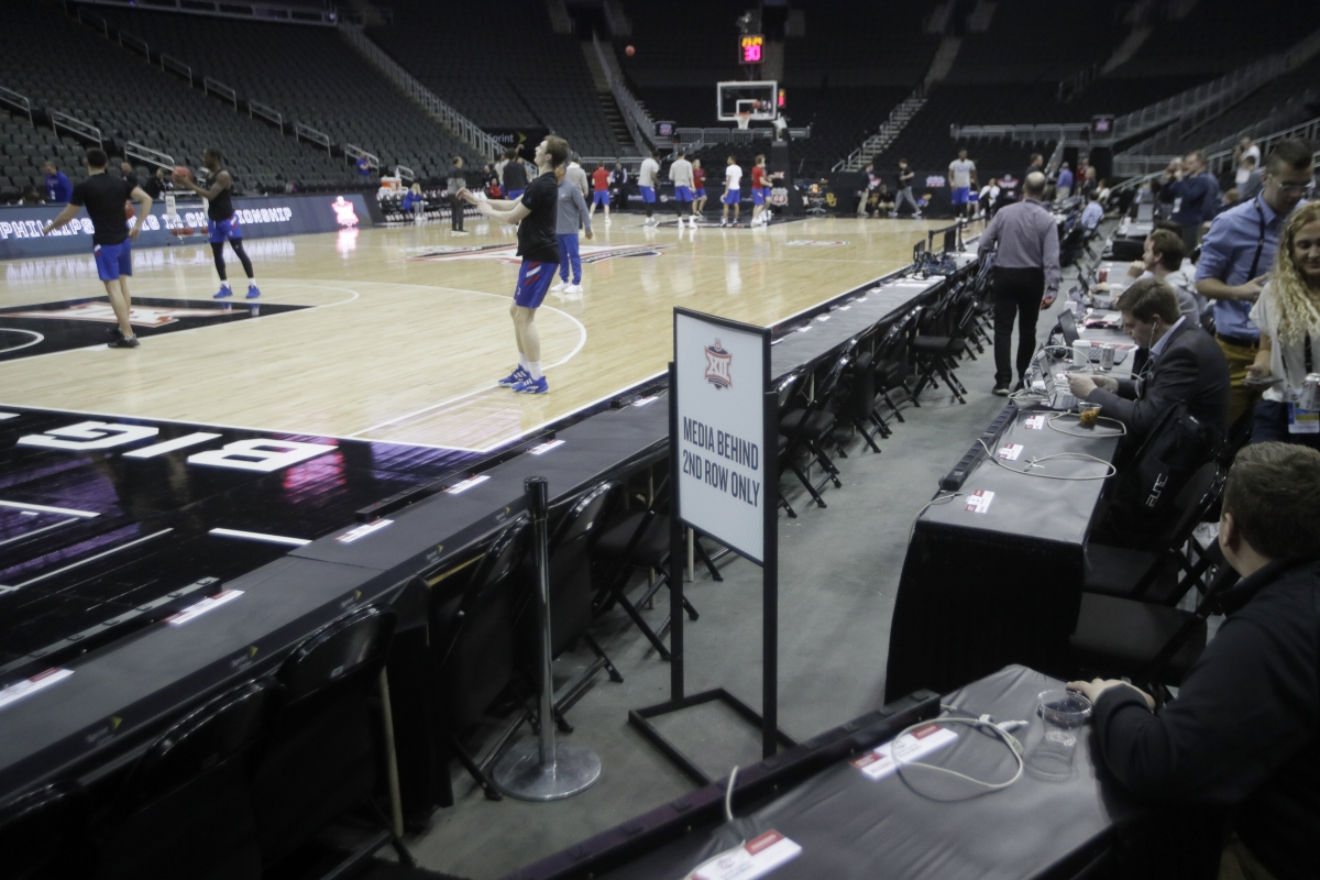 Media is restricted from court side as Kansas practices for the Big 12 men's basketball tournament in Kansas City, Kan., Wednesday, March 11, 2020. (AP Photo/Orlin Wagner)