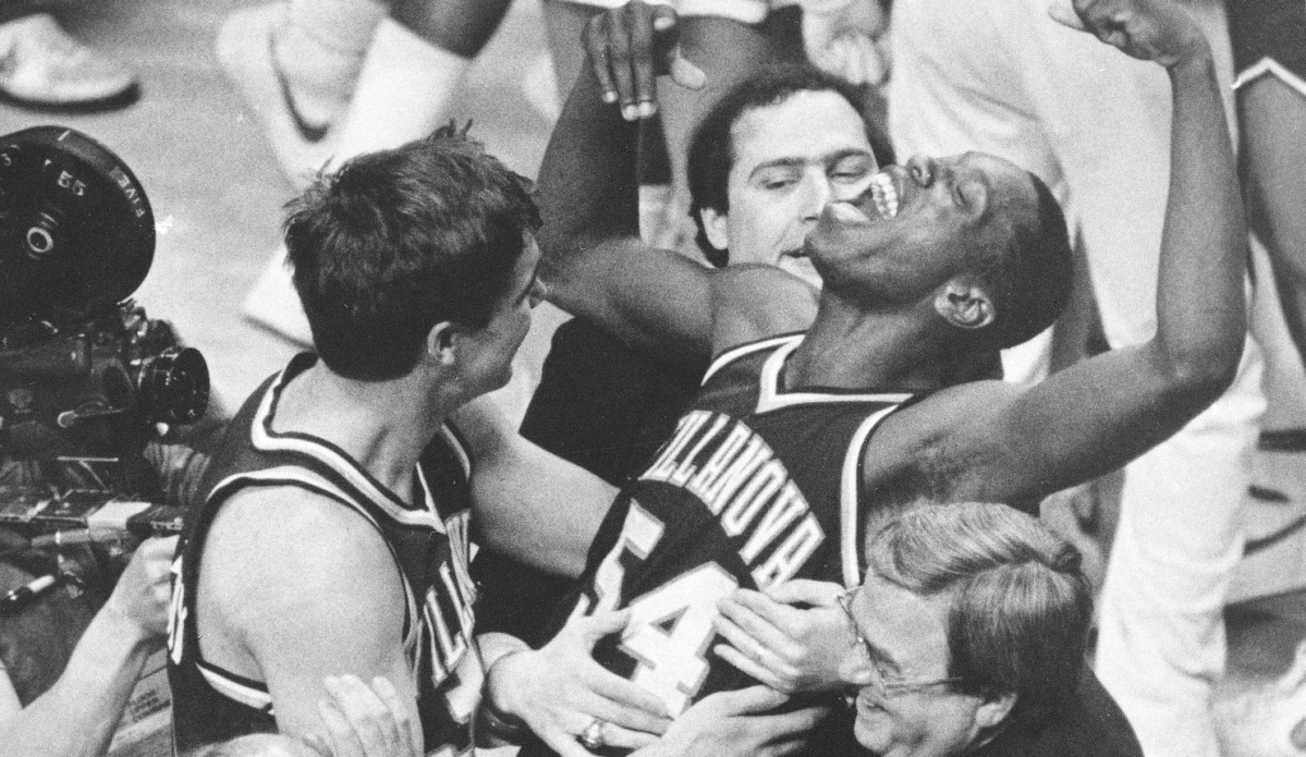 Villanova players and coaches celebrate the 1985 NCAA Championship game victory