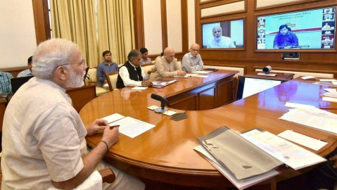 Prime Minister Narendra Modi chairs an interaction through PRAGATI — a multi-modal platform for Pro-Active Governance and Timely Implementation, in New Delhi, June 29, 2016. (Photo: PTI)