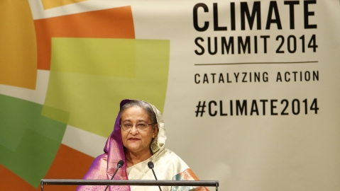 Bangladesh's Prime Minister Sheikh Hasina speaks during the Climate Summit at the UN headquarters in New York, September 23, 2014. (Photo: Reuters)