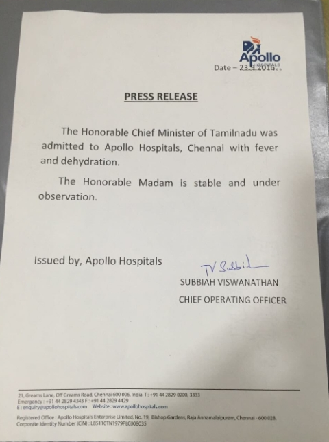 "Jayalalithaa complained of fever and dehydration. (Photo Courtesy: Twitter/<a href=""https://twitter.com/dennisjesudasan/status/779047718882717696"">DennisSJesudasan</a>)"