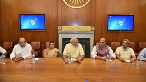 Prime Minister Narendra Modi chairs the CCS meeting on the situation on the LoC, in New Delhi on 29 September, 2016. (Photo: IANS)