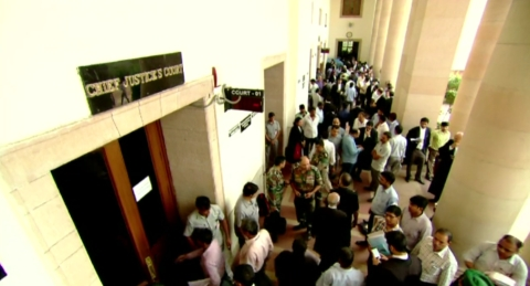 Lawyers outside the Chief Justice of India's court in New Delhi, India. (Source: Supreme Court of India Website)
