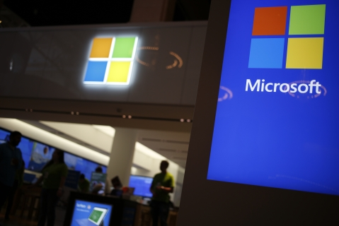 Signage is displayed outside a Microsoft Corp. store at the Easton Town Center shopping mall in Columbus, Ohio, U.S. (Photographer: Luke Sharrett/Bloomberg)