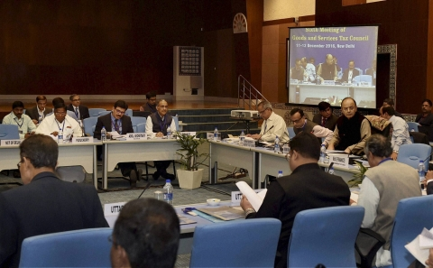 The sixth GST Council meeting in New Delhi on Sunday, December 11, 2016 that ended in deadlock. (Photograph: Kamal Singh/PTI)