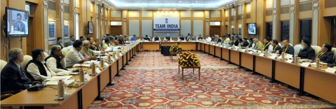 Prime Minister Narendra Modi chairs the first governing council meeting of the NITI Aayog on February 8, 2015, in New Delhi. (Image Source: NITI Aayog website)