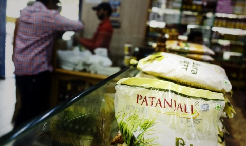 Patanjali Ayurved Ltd. logo is displayed on a product in one of the company's stores in New Delhi, India (Photographer: Udit Kulshrestha/Bloomberg)