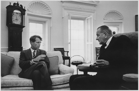 United States President Lyndon B Johnson meets Senator Robert F Kennedy in the Oval Office at the White House in Washington DC on June 22, 1966. (Image: U.S. National Archives and Records Administration / Wikimedia Commons)