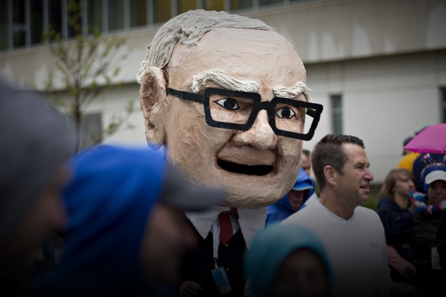 in the likeness of warren buffett chairman and chief executive officer of berkshire hathaway inc on the sidelines of the annual shareholders meeting