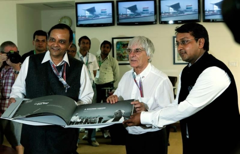 Then Formula One chief Bernie Ecclestone with Manoj Gaur and Sameer Gaur, the owners of the Buddh International Circuit on October 28, 2012. (Photograph: Buddh International Circuit)