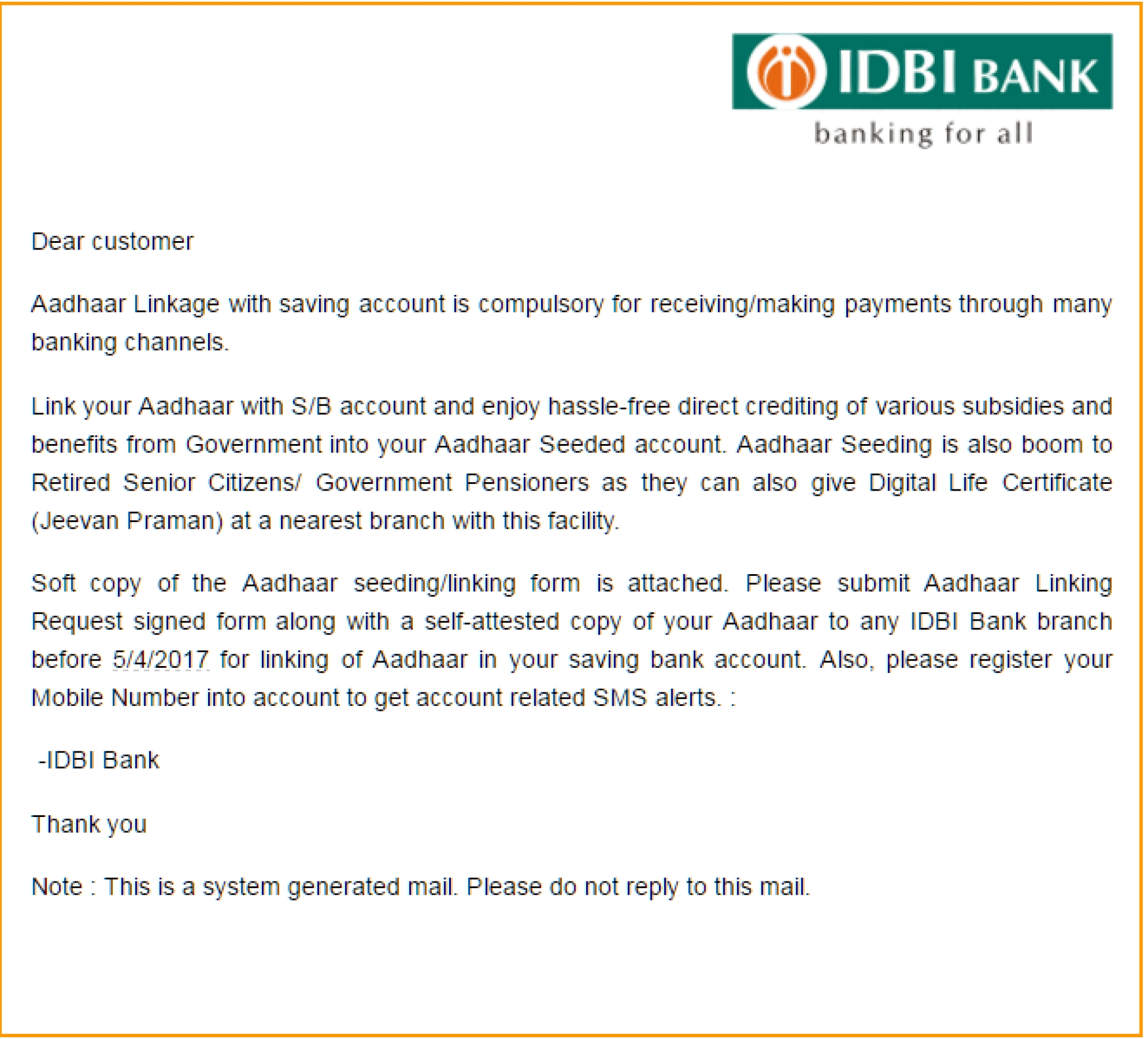 When a bank comes calling do you have to give your aadhaar number idfc banks mailer falaconquin