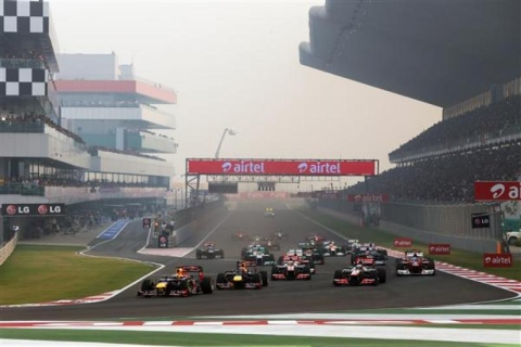 Sebastian Vettel, then of Red Bull Racing leads the field into the first corner at the start of the Indian Grand Prix at the Buddh International Circuit, on October 28, 2012. (Photograph: Buddh International Circuit)