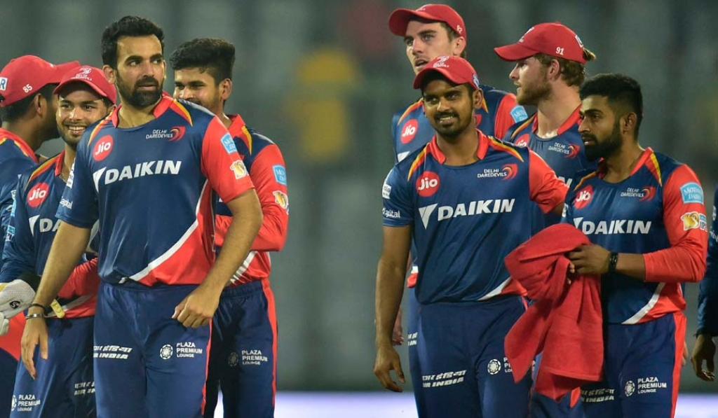 The Delhi Daredevils IPL team after defeating Rising Pune Supergiant by 7 runs on May 13, 2017. (Photograph: PTI)