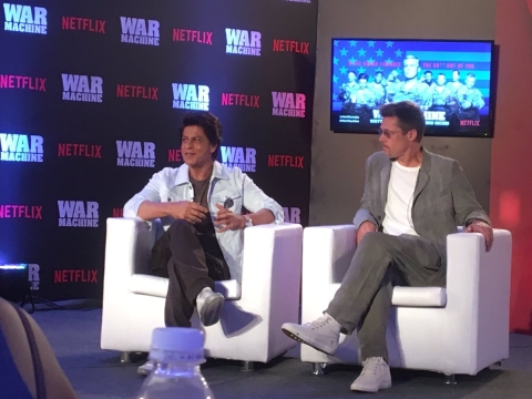 SRK chats with Brad Pitt. (Photo courtesy: Twitter)