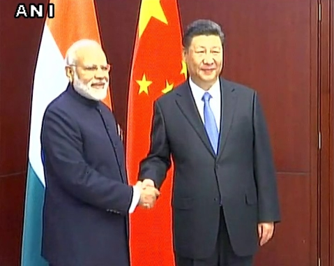 PM Modi with Chinese President Xi Jinping. (Photo Courtesy: ANI Screenshot)