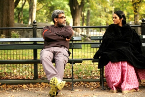 Film producer R Balki with actress Sridevi on sets of the film English Vinglish. (Image: Wikimedia Commons)