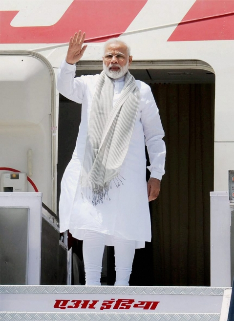 Prime Minister Narendra Modi departs for Astana to attend the Shanghai Cooperation Organisation Summit, in New Delhi on Thursday. (Photo: PTI)
