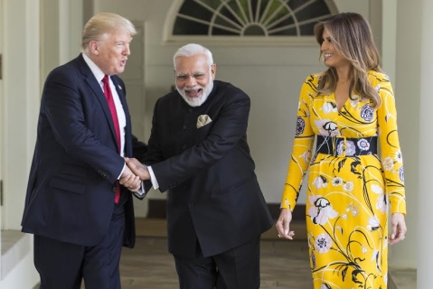 Donald Trump, Narendra Modi and U.S. First Lady Melania Trump at the White House.(Source: PIB)