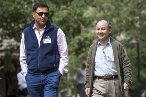 File photo of Nikesh Arora and Masayoshi Son in Sun Valley, Idaho, U.S. (Photographer: David Paul Morris/Bloomberg)