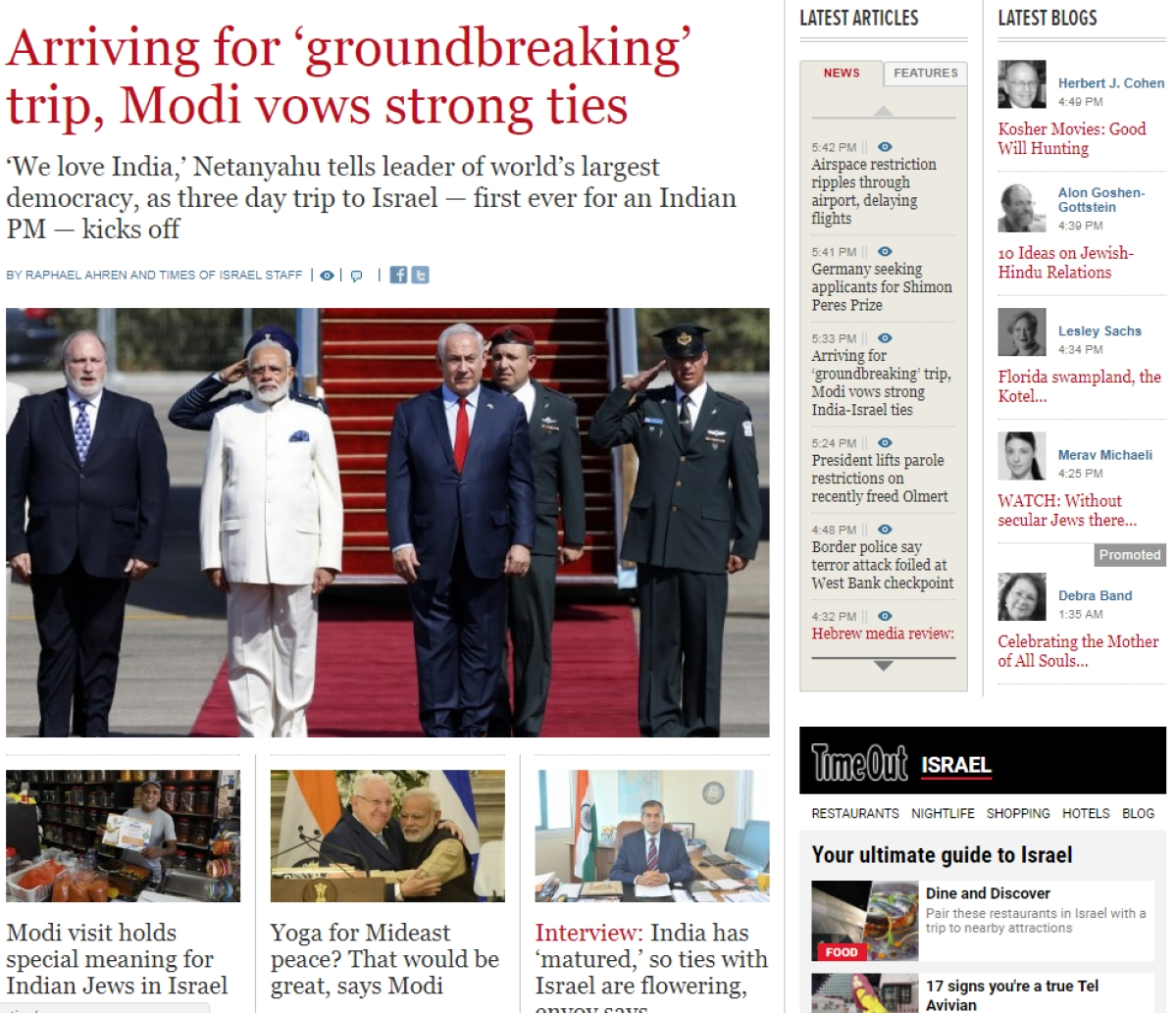 Israel Media Sees 'India Coming Out Of The Closet' On Bilateral Ties