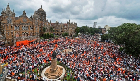 A gathering of Maratha community people during a silent protest in Mumbai on Wednesday, to demand reservation in government jobs and educational institutions. (Photographer: Shashank Parade/PTI)