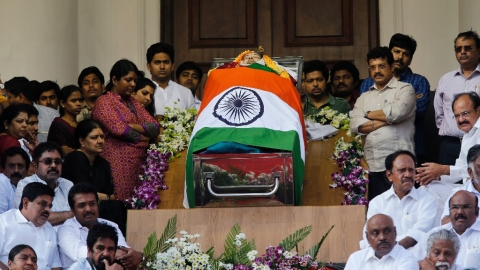 People pay their respects to Tamil Nadu Chief Minister J Jayalalithaa at Rajaji Hall, on December 6, 2016. (Photograph: PTI)