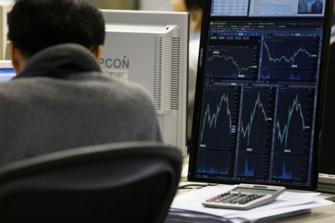 Graphs are displayed on a computer screen at a securities brokerage. (Photographer: Justin Chin/Bloomberg)