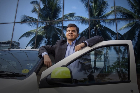 Bhavish Aggarwal, chief executive officer and co-founder of  Ola, stands for a photograph in Bengaluru, India. (Photographer: Namas Bhojani/Bloomberg)