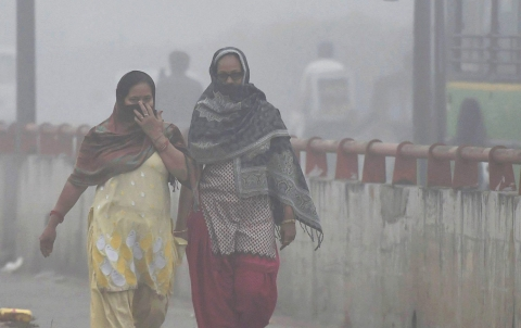 Women try to protect themselves from heavy smog and air pollution that reached hazardous levels in New Delhi. (Source: PTI)