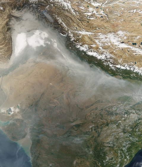 A satellite image of the haze blanketing Northern India and Pakistan made available by NASA on Nov. 7. (Source: NASA)