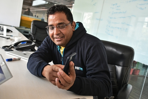 File photo of Vijay Shekhar Sharma at the Paytm headquarters. (Photographer: Anindito Mukherjee/Bloomberg)
