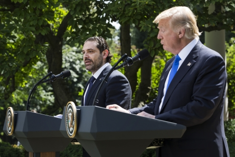 Saad Hariri, then Lebanon's prime minister, left, speaks as U.S. President Donald Trump listens during a joint press conference at the White House in Washington, D.C., U.S., on July 25, 2017. (Photographer: Zach Gibson/Bloomberg)