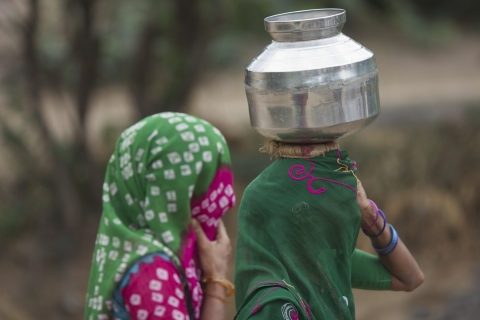 A woman carries a water pot in Lakhtar, Gujarat, India. (Photographer: Adeel Halim/Bloomberg)
