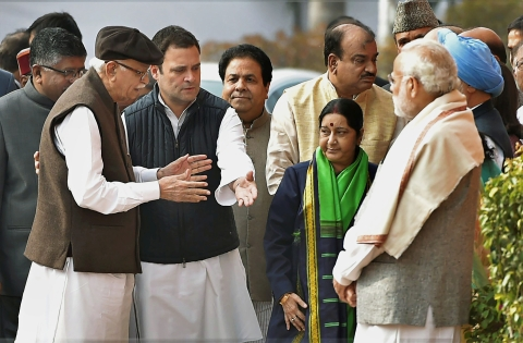 BJP and Congress leaders meet at the memorial of 2001 Parliament Attack. (Photograph: PTI)