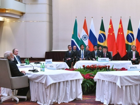 Prime Minister  Narendra Modi at the informal meeting of leaders of the BRICS countries, on the sidelines of the 12th G-20 Summit, at Hamburg, Germany on July 7, 2017. (Photograph: PIB)